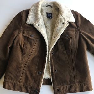 Sherpa lines leather suede jacket